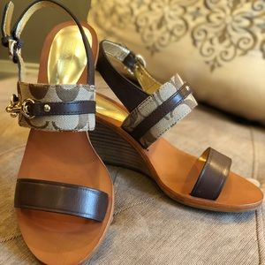 """3ae8d4028e5cb Coach Shoes - Coach """"PAM"""" Logo Wedge Sandals"""